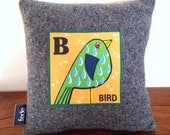 Bird Decorator Pillow, Kids Pillow, B for Bird, Cushion, Personalised Pillow, Animal Nursery, Kids Bedroom Decor, Christmas Gift, 25x25cm