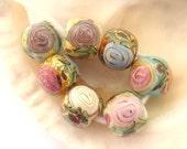 7 Golden Roses Beads Handmade Lampwork