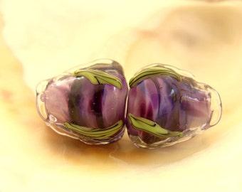 Purple Roses Handmade Lampwork Bead Pair
