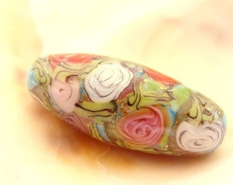 RESERVED - 1 Turquoise Roses Bead Handmade Lampwork