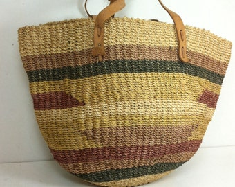 Vintage 80s Sisal Weave Jute Tote bag/ Market Beach purse/Ethnic/Rustic/ Striped/Woven Basket