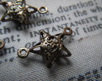 Tiny Star Filigree Brass Ox 15X9mm Connectors 12 Pcs