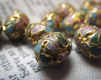 Vintage Cloisonne Beads in Lilac Gold and Green Egg Shaped 9x7mm 12 pieces