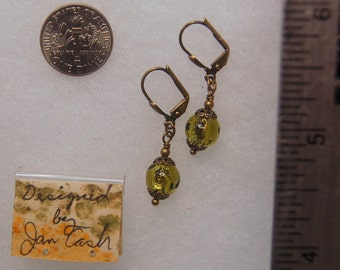 Vintage Czech olive dimpled sterling silver foil glass and solid brass beaded pierced earrings