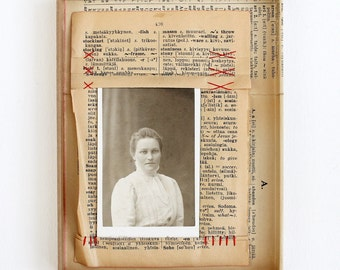 Original Mixed Media Vintage Photo and Dictionary Collage Art
