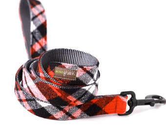 Flannel PJs Dog Leash - 4', 5' or 6' --  2 colors to choose from