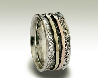 Wedding Band, Sterling Silver Ring, Spinning Band, Silver Gold Ring, Gold Spinners, Bohemian jewelry, Wedding Ring - Ghost of my joy R1733A