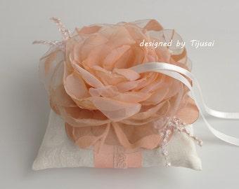 Wedding ring bearer pillow with peach/orange flower-ring bearer, ring cushion, wedding pillow, ready to ship