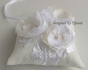 White Wedding ring pillow with flowers and embroiderings- pillow, wedding ring pillow , wedding pillow