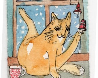 Red Cat  ACEO original