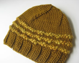 gold and bronze wool knit hat