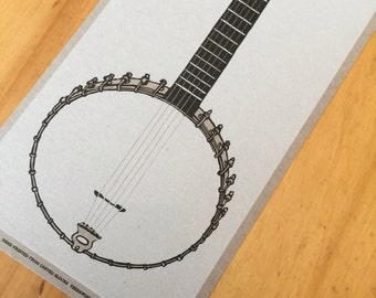 5 STRING BANJO poster - clawhammer Hand Printed Letterpress old time music bluegrass linocut vintage