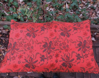 Hot Red Silk Fabric - Sheherazade Design Printed -  2 yds. plus - Vintage Gorgeous Cloth