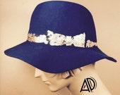 Cobalt blue floppy hat, unisex wool floppy blue handmade hat, HANDMADE hat with leafing