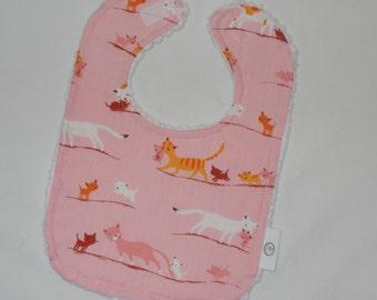Pink Kitties and Chenille Bib