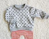 baby sweatshirt, kids sweatshirt, boy girl sweater, kids sweat top, boys & girls polka dot jumper, cotton pullover  (grey marle spot)