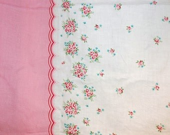 vintage pink red teal green white floral print flour sack pattern linen, 46 x 37 inches pillow quilt border fabric sewing supplies