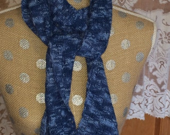 Handknitted Wool Scarf Varigated Blues