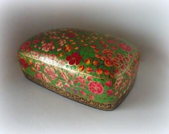 Vintage Apple Blossom Lacquered Kashmir Paper Mache Dresser Box Gold Black Floral Handpainted HandMade Lid Gift Presentation Trinket Hostess
