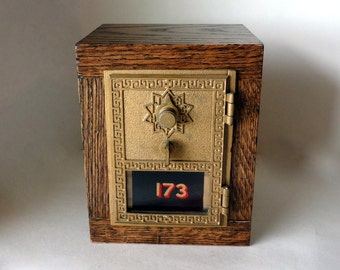 JACOBEAN Oak Safe Vintage Brass Bronze US Post Office Door Bank Combination Mail Lockbox Brass Groomsman 8th Anniversary Retirement Lock Box