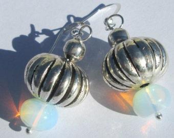 Pierced Earrings Opalite Earrings bead stack pierced dangle hand made wire wrapped affordable unique earrings