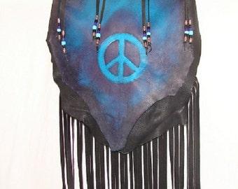 "REaDY to SHiP! Leather Peace Sign Handbag Deerskin Fringed Beaded Purse ""DARK AQUA PEACE"" Flap Over Hobo Bag Handmade by Debbie Leather"