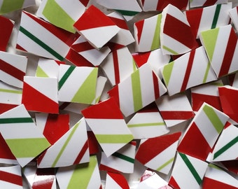 Mosaic Tiles-Red Green White Stripes- Candycane -- 60 Tiles