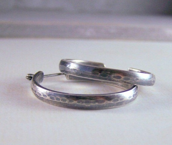 Rustic Sterling Silver Hoop Earrings