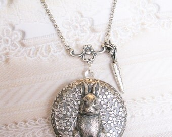 Silver Locket Necklace - ORIGINAL Silver Garden Bunny - Jewelry by BirdzNbeez - Easter Wedding Birthday Bridesmaids Gift