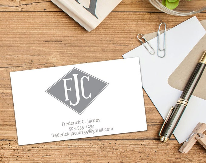 Diamond Shaped Monogram Calling Card, Business Cards, Set of 50 Cards, Set of 100 Cards, Sophisticated Personal Contact Cards, Custom Cards
