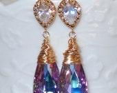 ON SALE 15% OFF Swarovski Crystallized Teardrop Earrings, Vitrail Light Crystal Earrings, Bridesmaid Earrings, Bridal Jewelry, Peacock Earri