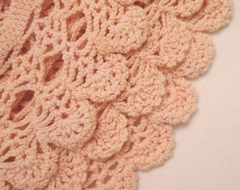 Two Vintage Hand Crocheted Doilies - Pink and Cream
