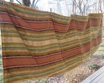 Large Woven Tablecloth - Tan Brown Green Striped - Fall Tablecloth - Thanksgiving