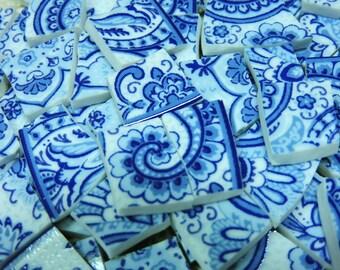 Mosaic Tiles - BLuE & WHiTE PAiSLeY - 100 China Mosaic Tiles
