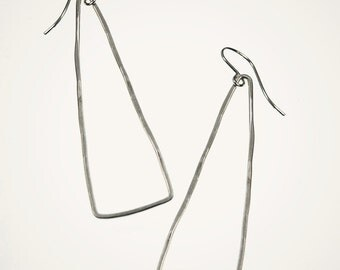 Sterling Silver Triangle Earrings, Geometric Jewelry, Handmade Hammered Hoop Earrings