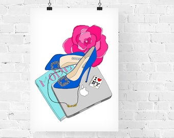 Carrie Bradshaw What's in my Bag Portrait Fashion Illustration Art Print