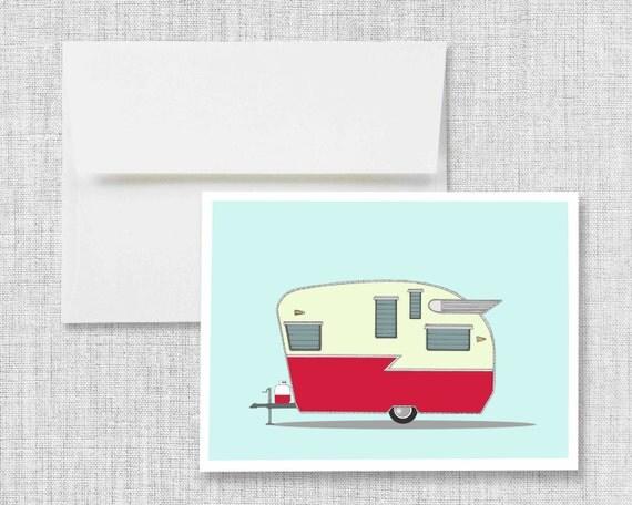 Shasta Airflyte - greeting card, blank greeting card, greeting card set, vintage camper, retro camper, vintage trailer, retro trailer, art