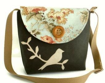 Bird on Branch Messenger Bag - English Garden - Adjustable Strap - Romantic Floral - Cross Body - Vegan