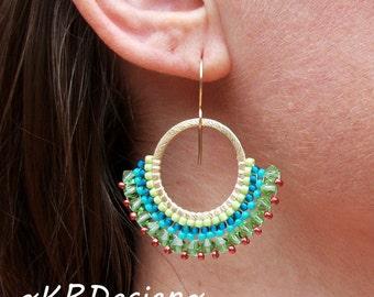 Beaded-Hoop Earrings-Swarovski Crystal-Earrings / Free US Shipping