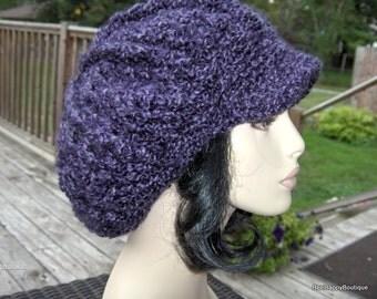 Crochet Newsboy Men Womens Hat Purple Crochet Brim Newsboy Hat Crochet Womens Hat Dreads Hat Accessories