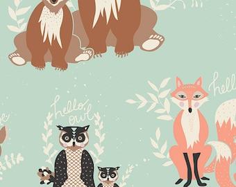 Oh, Hello Meadow - Hello Bear - Bonnie Christine - Art Gallery Fabrics - HBR-5430 - Deer Raccoon Fox Mint