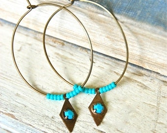Turquoise charm hoop earrings/hoop earrings/ boho jewelry. Tiedupmemories