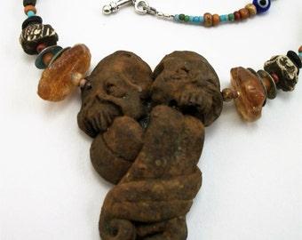 Bohemian Monster Heart, VooDoo, Amber, Horror Art Zombie Head Necklace