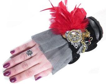 Steampunk Textile Cuff Wrist Cuff Black VELVET Red Feathers Key Gears Victorian Steam Punk Wedding Cuff - Steampunk Clothing by edmdesigns