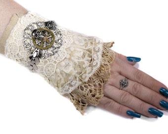 Steampunk BRIDAL Cuff Leather Ivory Lace Silver ORNATE Filigree Gear SKULL GOTHiC Wedding Rocker PuNk Cuff - Steampunk Cuffs by edmdesigns