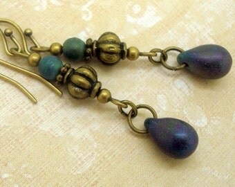 Boho Chic Earrings, Purple Matte Glass Teardrop, Green Iris Beads, Rustic, Handmade, Neo Victorian Jewelry, Bohemian, Boho, Everyday