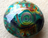 Eye See You For All Of The Beautiful Things You Are- handmade lampwork xl lentil bead with rainbow batik eye design on a teal blue base