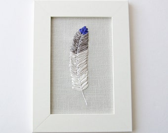 Feather art work, embroidered blue tipped feather, nature lover's home decor, 5 x 7 framed embroidery, silk ribbon embroidery, fiber art