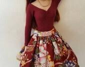 "OOAK Burgundy Asian Skirt set for Agatha Primrose 13"" Tonner fashion body"