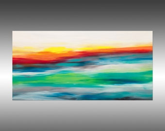 Sunrise 47 - Original Abstract Painting, Modern Landscape Painting, Abstract Art Contemporary Canvas Wall Art, Portland, Oregon